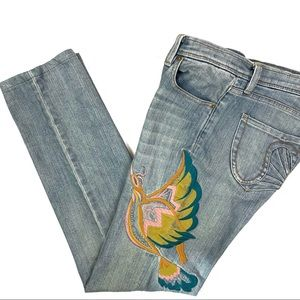 VTG Sean by Sean Combs Embroidered Bird Jeans Boho
